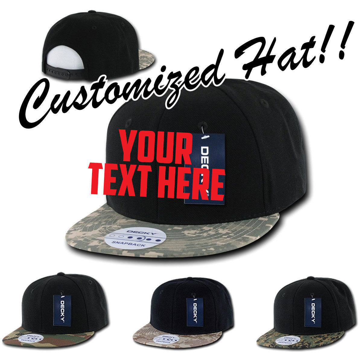 CUSTOM EMBROIDERY Personalized Customized Decky Camoflage Bill Snapback Cap 356