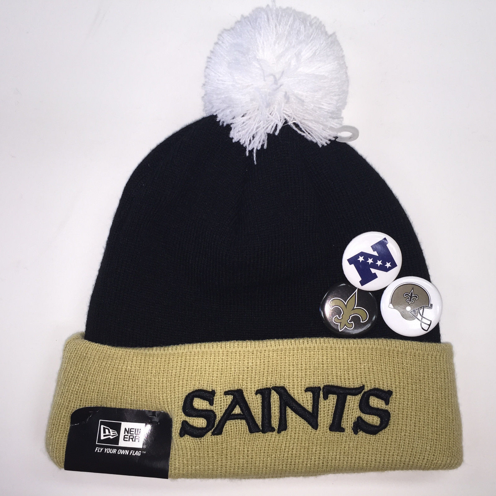 New Era NFL New Orleans Saints Button Up Pom Knit Beanie 7264