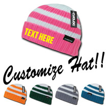CUSTOM EMBROIDERY Personalized Customized Decky Shasta Striped Beanie Hat k014 - $17.59+