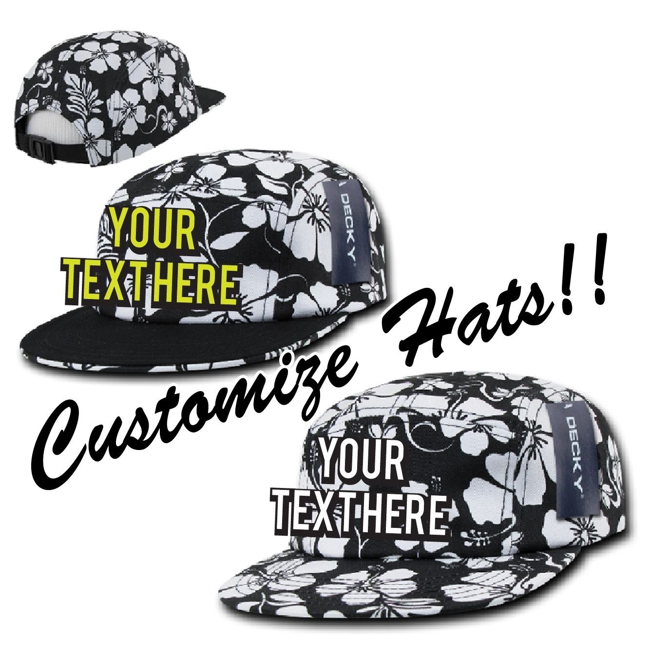 CUSTOM EMBROIDERY Personalized Decky 5 Panel Floral Racer Adjustable Cap 1069