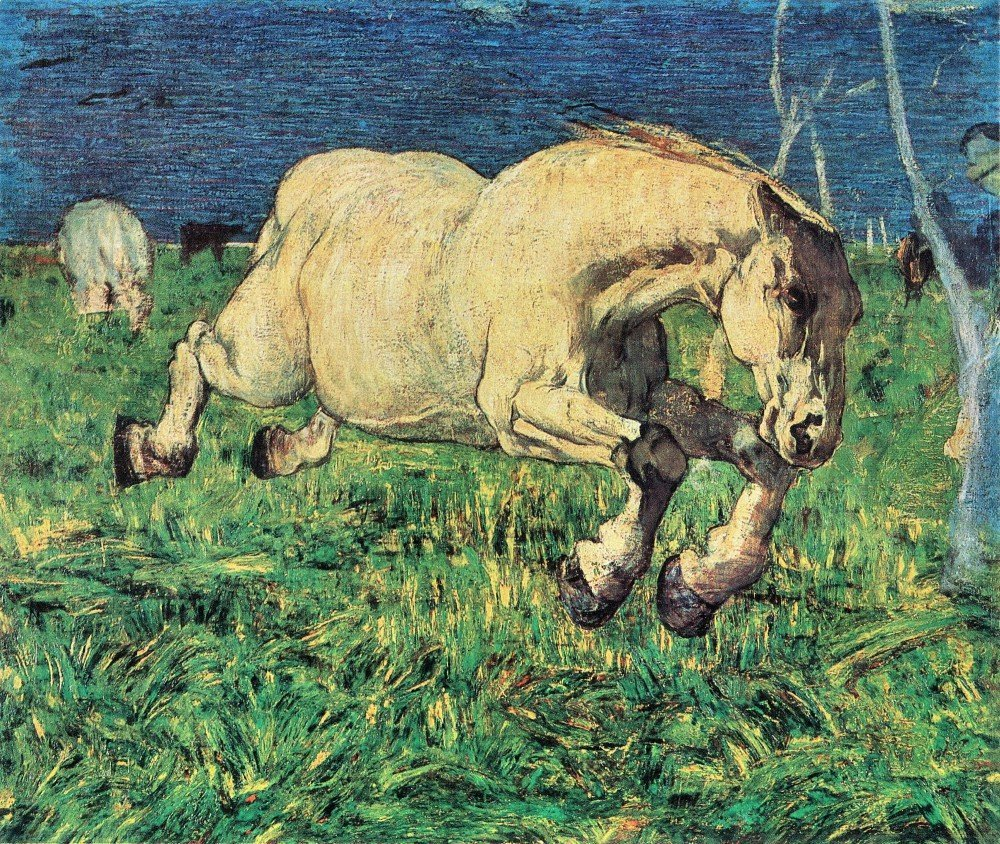 100% Hand Painted Oil on Canvas - Galloping horse by Giovanni Segantini - 30x...