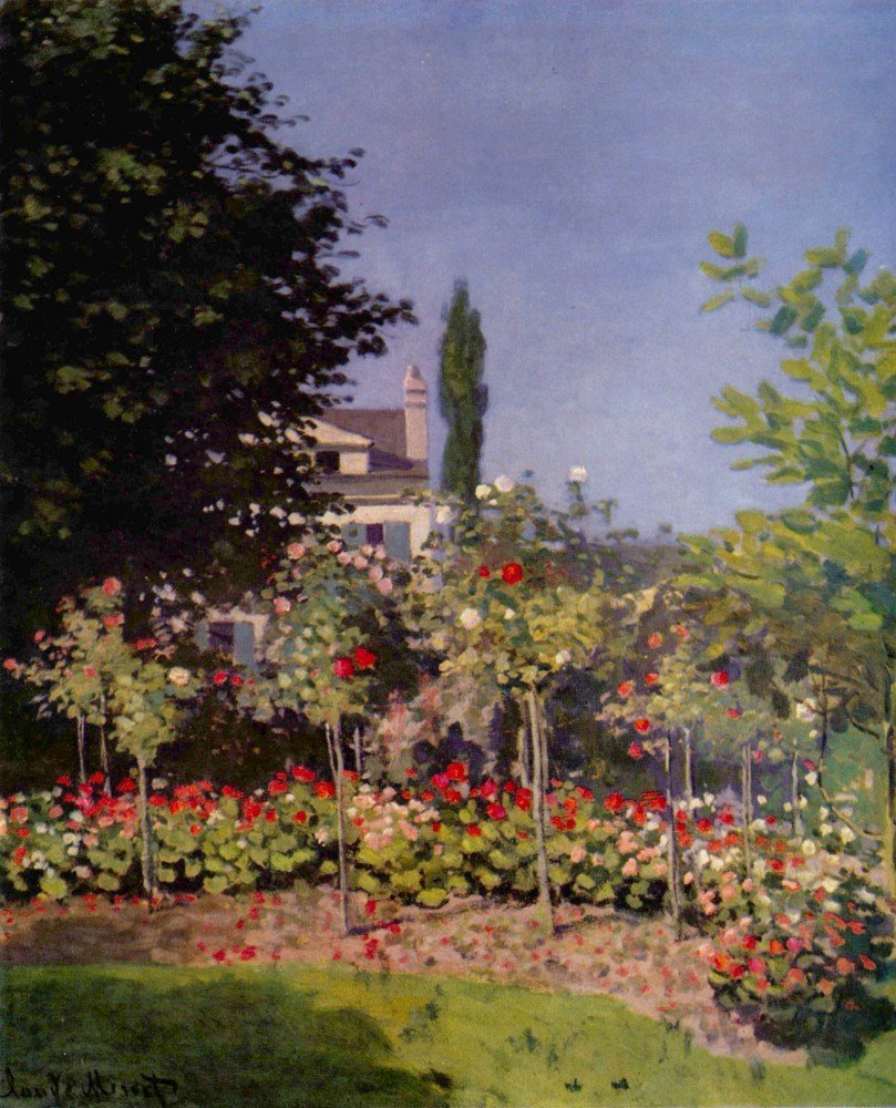 100% Hand Painted Oil on Canvas - Garden at Sainte-Adresse by Monet - 30x40 Inch