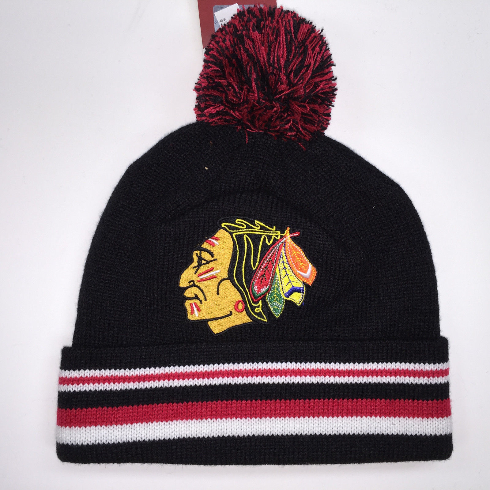 Mitchell & Ness NHL Chicago Blackhawks Blackout Stripe Cuffed Knit Beanie 11528