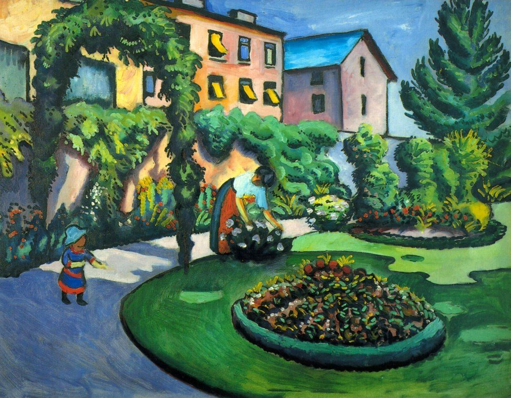 100% Hand Painted Oil on Canvas - Garden image by Macke - 30x40 Inch