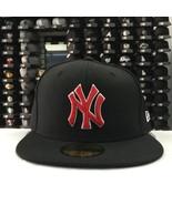 New Era 59Fifty MLB New York Yankees Black Red 5950 Baseball Fitted Cap Hat - $34.99