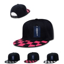 DECKY 6-Panel Checker Flat Bill High Crown Snapback Cap Caps Hat 1095 - $12.99