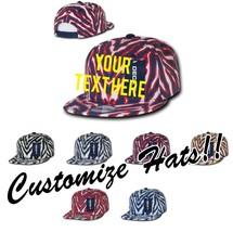 CUSTOM EMBROIDERY Personalized Customized Decky Ziger Zebra Print Snapback 1060 - $17.59+