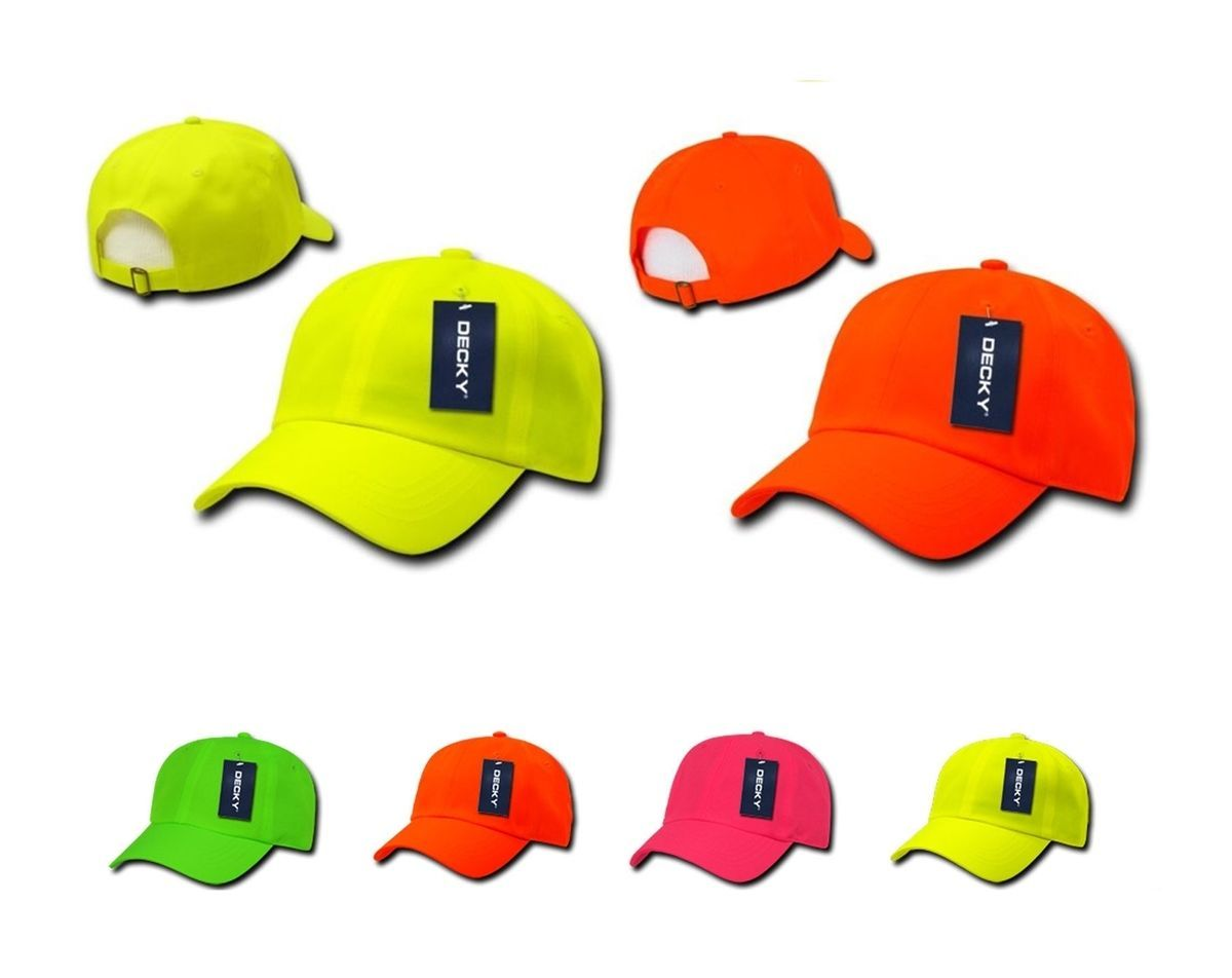 DECKY Blank Neon Pre Curved Bill 6 Panel Low Crown Baseball Caps Cap 761