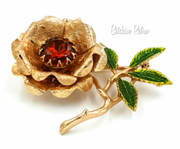 Sarah Coventry Vintage Floral Brooch with Large Amber Rhinestone  - $22.00
