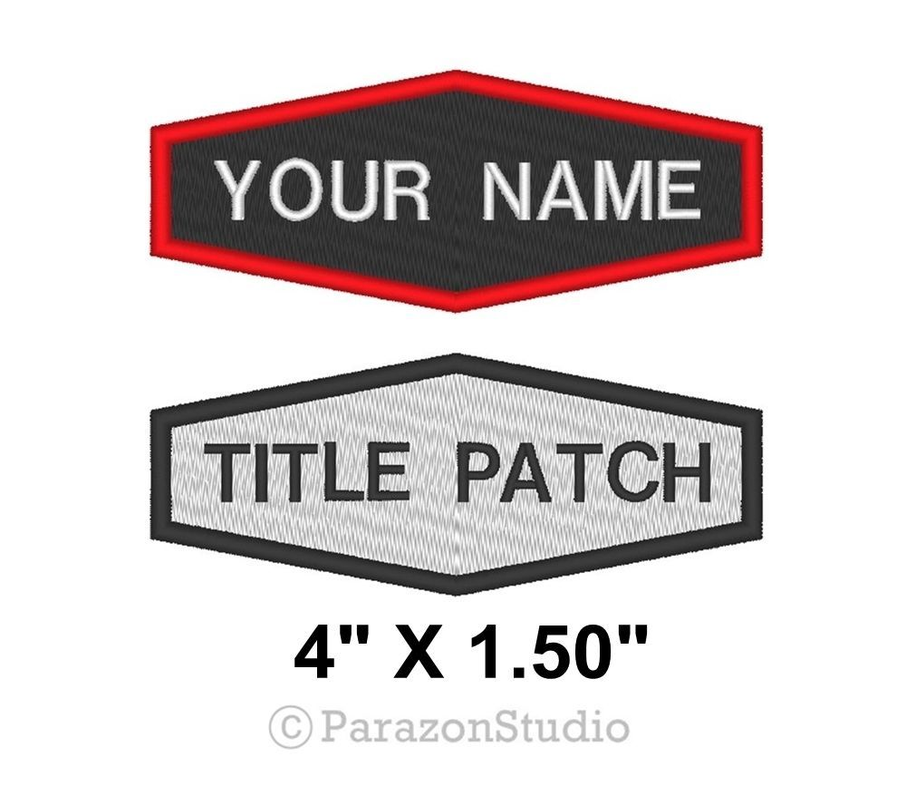 "Custom Embroidered Name Title Tag Biker Rider Sew on Patch 4"" X 1.50""_Hexagonal"