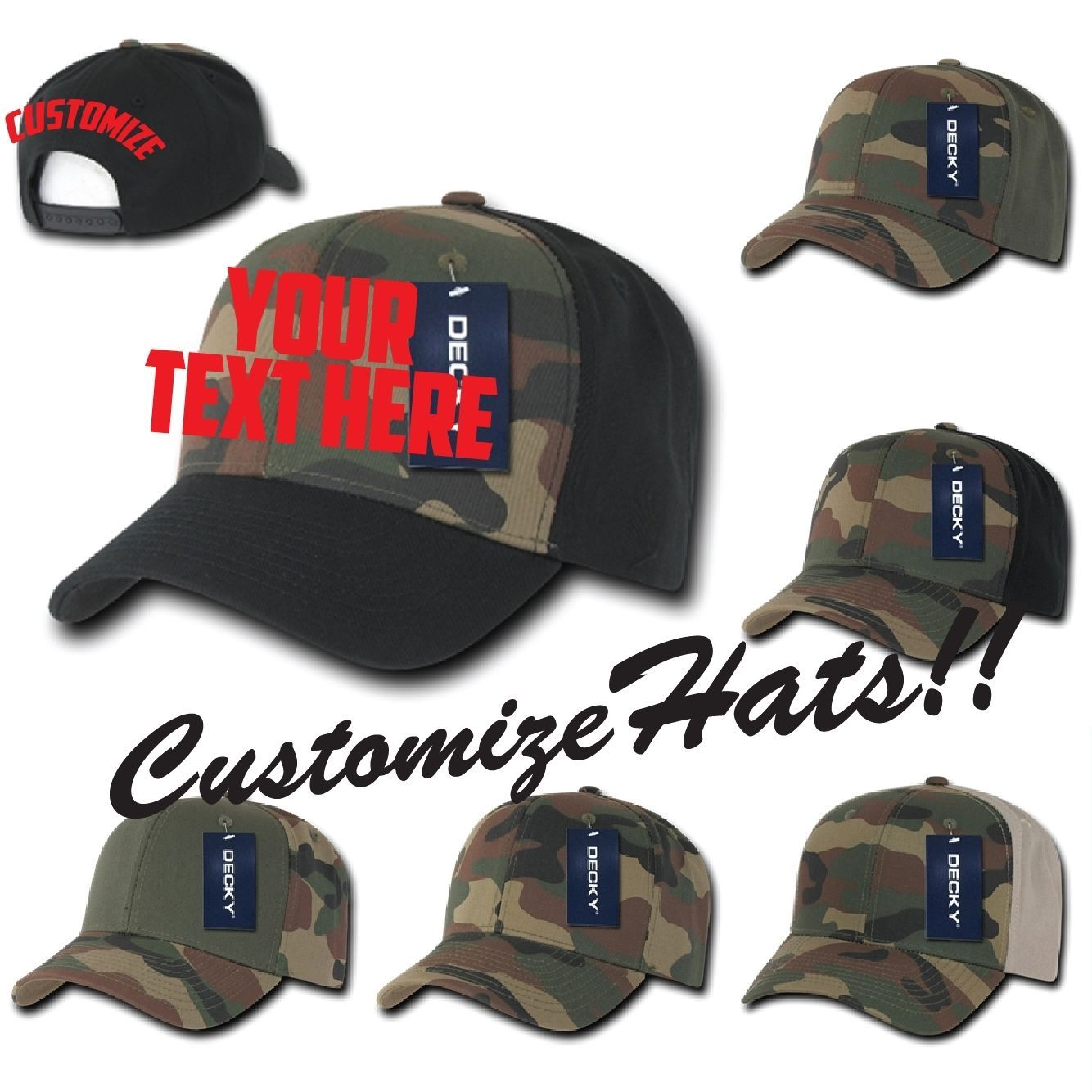 CUSTOM EMBROIDERY Personalized Decky Camo Curved Bill Cap Hat 1048