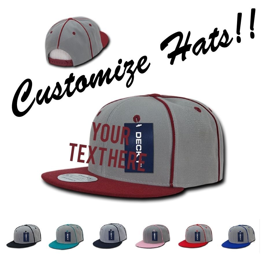 CUSTOM EMBROIDERY Personalized Customized Decky Piped Crown Snapback Cap 1078