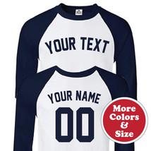 Custom New York Yankees Block 3/4 Raglan Baseball T-Shirt - Front & Back... - $22.71+