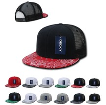 DECKY 6 Panel Flat Bill  Bandana Print Trucker Mesh Snapback  Hat Cap 1083 - $12.99