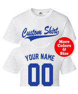 CUSTOM Script & Tail Baseball Style T Shirt - Personalized Your Text Fro... - $22.71+