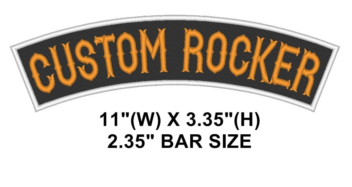 "Custom Embroidered Top Rocker Sew on Patch Motorcycle Biker Badge 11"" (B -1)"