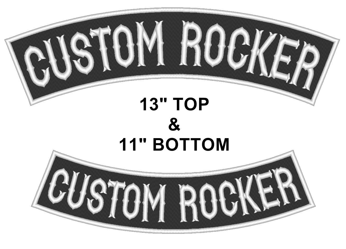 "Custom Embroidered 13"" Top & 11"" Bottom Rocker Biker Sew on Patch (B-1)"
