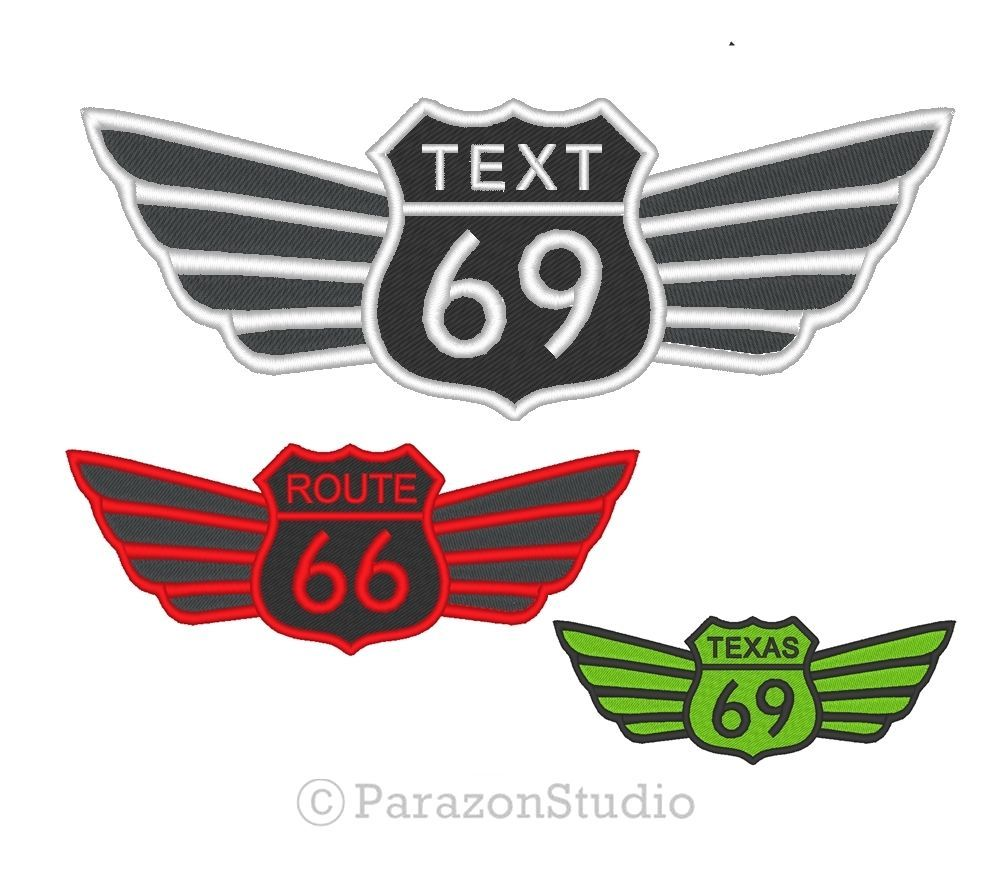 All Sizes - Custom Embroidered Route 66 69 Wings Biker Road Highway Sew on Patch