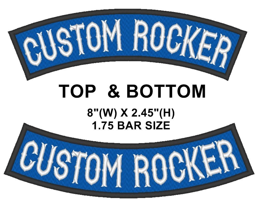 "Custom Embroidered Top & Bottom Rocker Sew on Patch Biker Badge 8"" (B -1)"