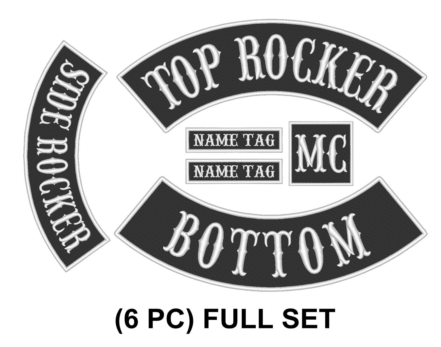 "Custom Embroidered 12"" Set Rocker Patch Biker Patch Club Outlaw Badge_6 PC"