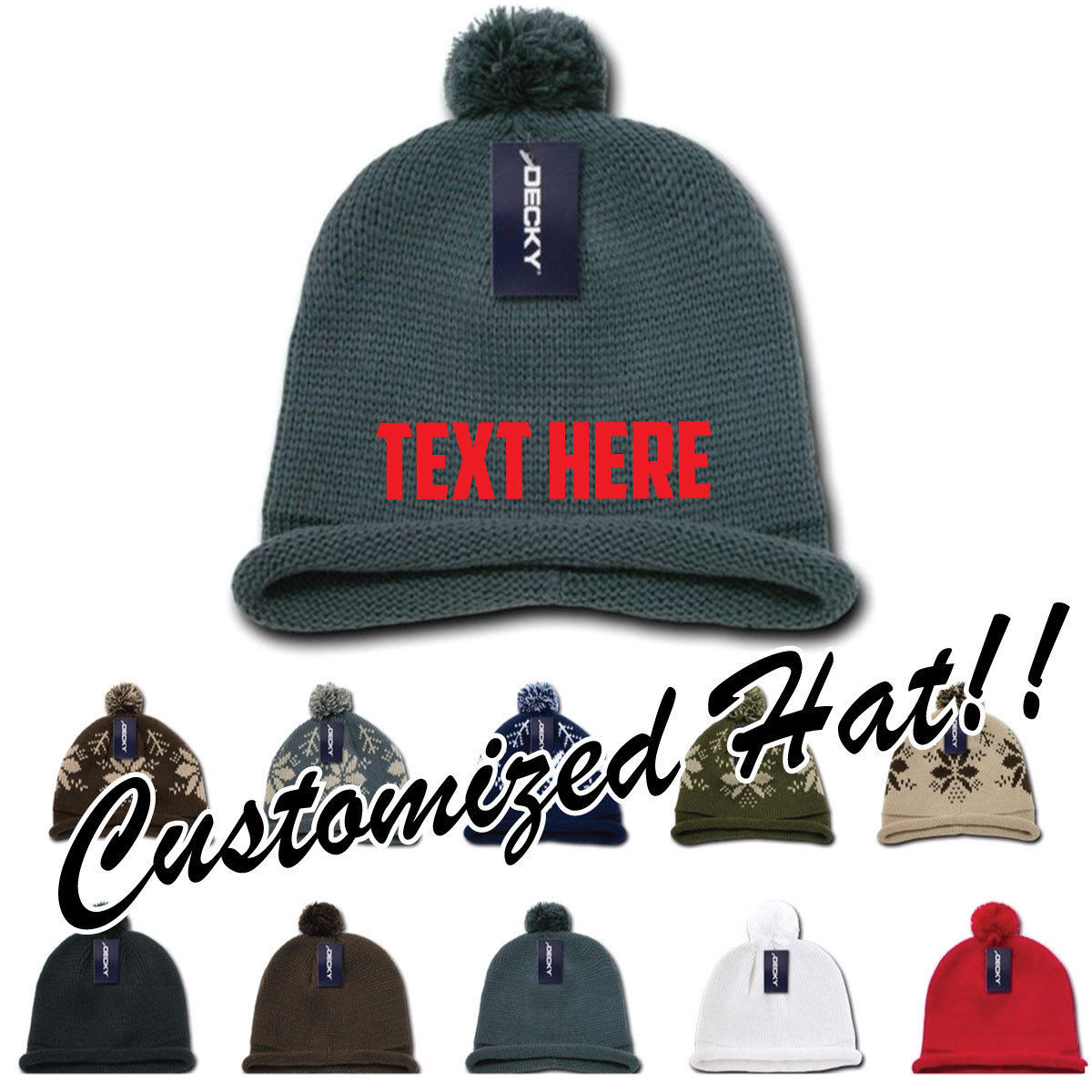 80493b04f7d S l1600. S l1600. Previous. CUSTOM EMBROIDERY Personalized Customized Decky Solid  Roll Up Beanie ...