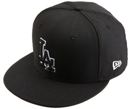 New Era 59Fifty MLB Los Angeles Dodgers Black White Outline Fitted Cap  - $34.99