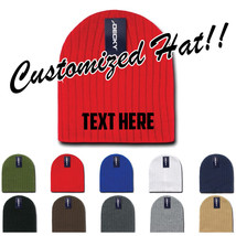 Custom Embroidery Personalized Customized Decky Beanies Cable Knit Cap Hat 601 - $13.99+