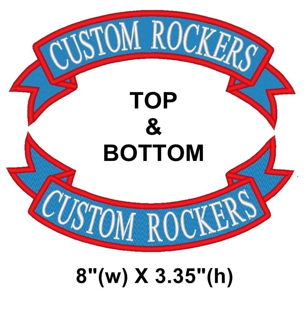"Custom Embroidered Top and Bottom Rocker Ribbon Sew on Patch Biker Badge 8"" (E)"