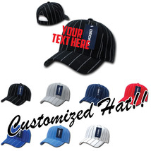 CUSTOM EMBROIDERY Personalized Customized Decky Pin Striped Adjustable Cap 208 - $17.59+