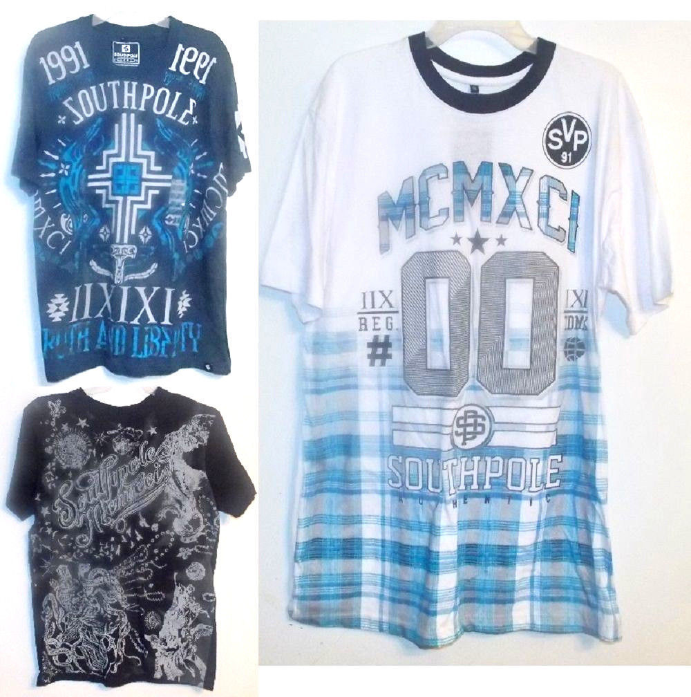 Southpole Boys/Young Mens T-Shirts 3 Choices Sizes M, Lg and XLg NWT