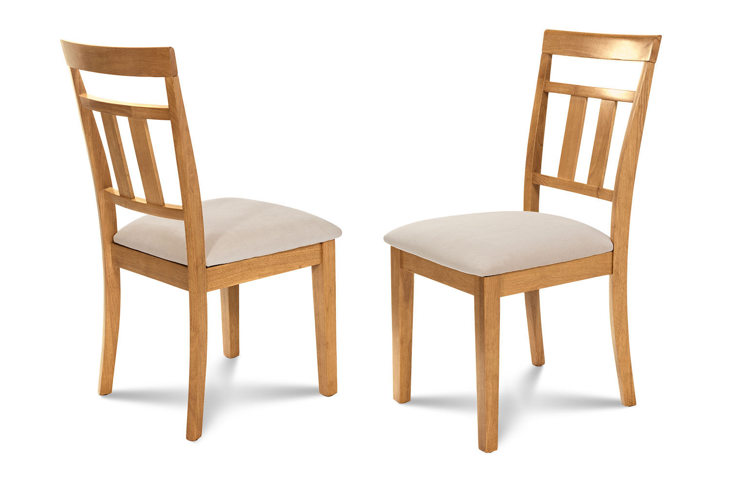 SET OF 2 KITCHEN DINING SIDE CHAIRS w/ SOFT-PADDED SEAT IN  OAK FINISH
