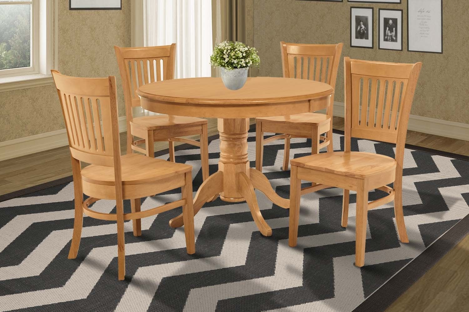 "5 PIECE 36"" ROUND KITCHEN  DINETTE  TABLE DINING SET  & 4 CHAIRS IN OAK"