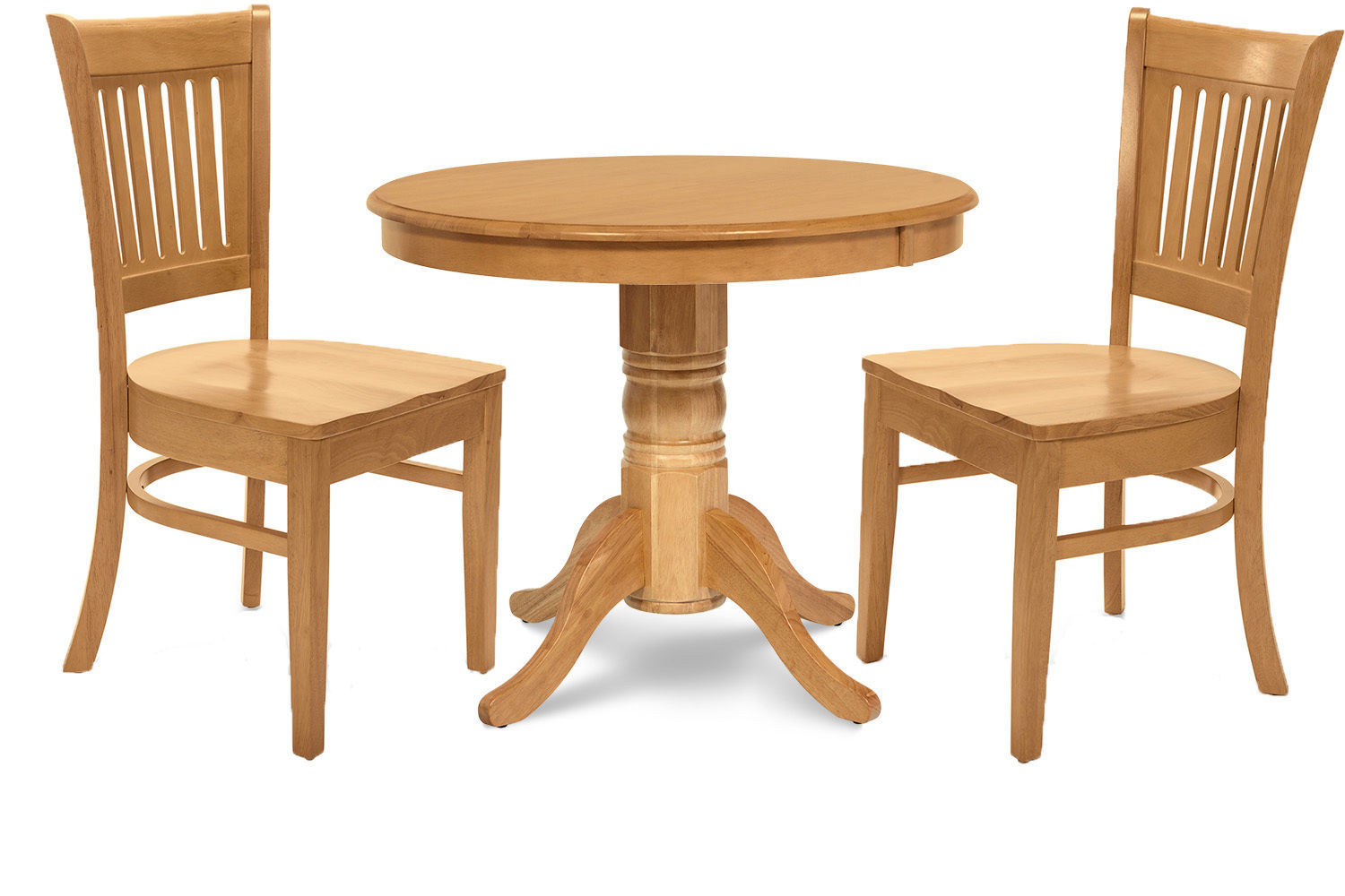 "3 PC 36"" ROUND KITCHEN  DINETTE  TABLE DINING SET  & 2 CHAIRS IN OAK"