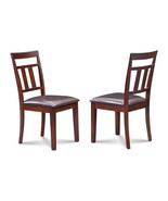 SET OF 2 KITCHEN DINING SIDE CHAIRS w/ FAUX SEATS IN MAHOGANY FINISH - $130.90