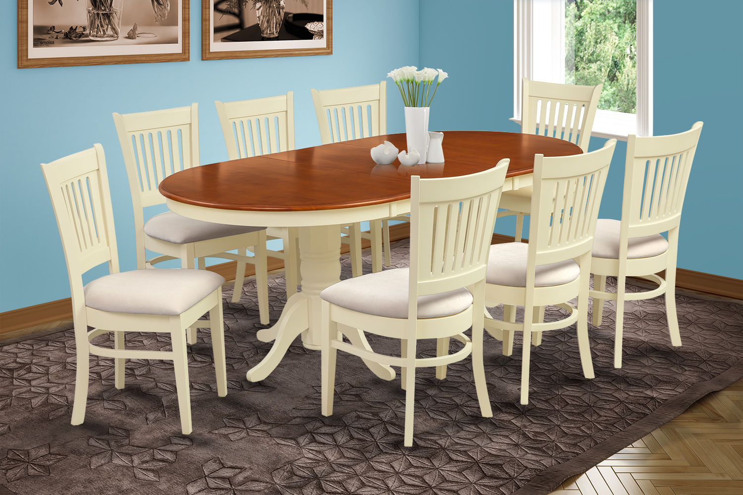 "5 PC OVAL DINING ROOM SET 42""x78"" TABLE & 4 PADDED CHAIRS IN BUTTERMILK & CHERRY"