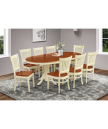 9 PIECE OVAL DINING ROOM TABLE SET w/ 8 WOODEN CHAIR IN BUTTERMILK & CHERRY - $989.00