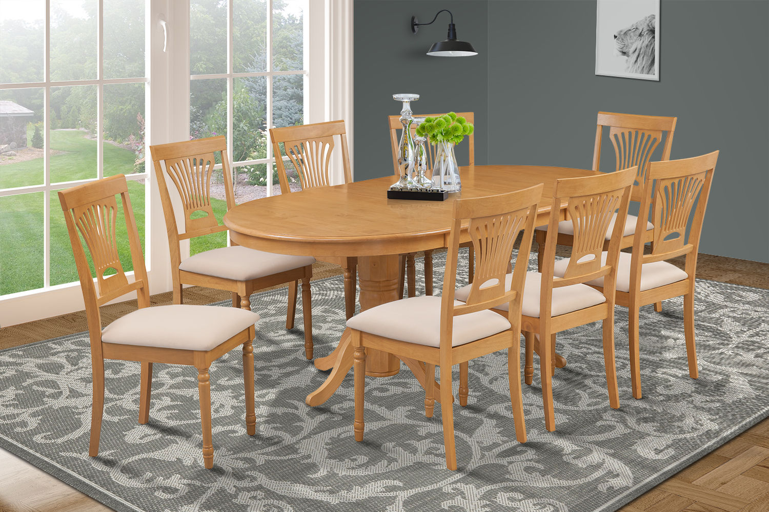 9 PIECE OVAL DINING ROOM TABLE SET w/ 8 SOFT-PADDED CHAIRS IN OAK FINISH