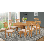 7 PIECE OVAL DINING ROOM TABLE SET w/ 6 SOFT-PADDED CHAIRS IN OAK FINISH - $857.00