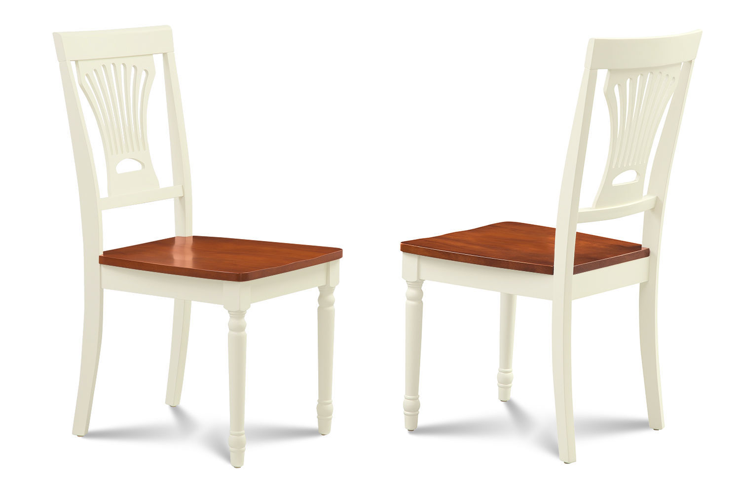 SET OF 4 DINING KITCHEN SIDE CHAIR WITH  WOODEN SEATS IN BUTTERMILK & CHERRY