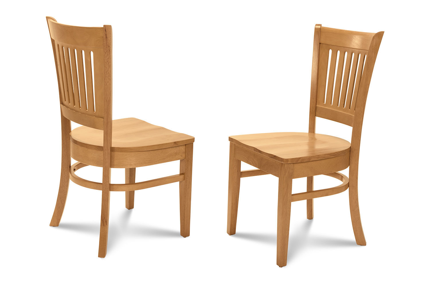 2 DINING KITCHEN DINETTE CHAIRS w/ WOOD SEATS IN OAK FINISH
