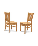 2 DINING KITCHEN DINETTE CHAIRS w/ WOOD SEATS IN OAK FINISH - $129.97