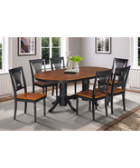 7 PC OVAL DINETTE DINING ROOM TABLE SET w/ 6 CHAIRS IN BLACK & CHERRY - $867.00