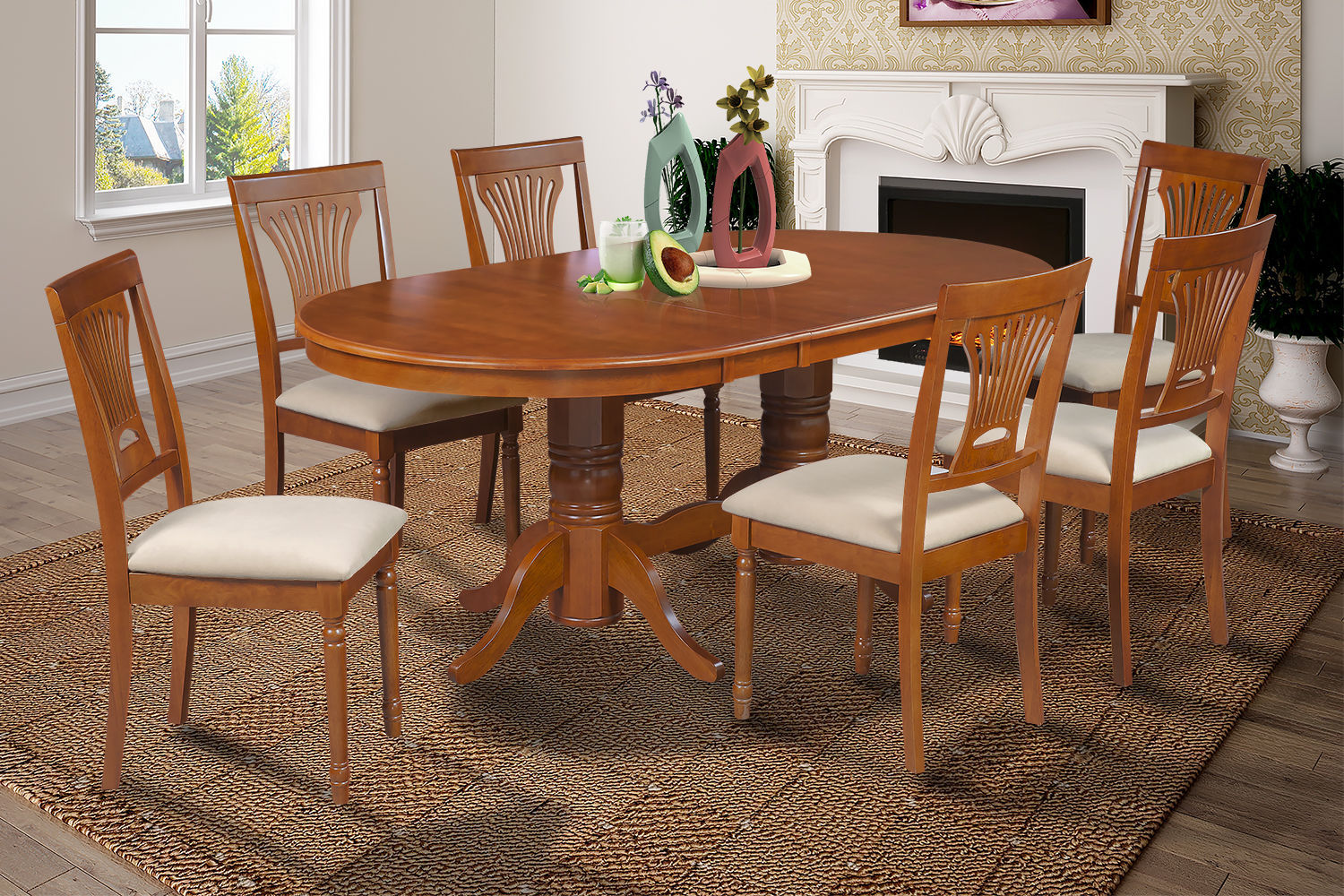 "DINETTE DINING ROOM TABLE CHAIR SET WITH 18"" LEAF IN SADDLE BROWN FINISH"