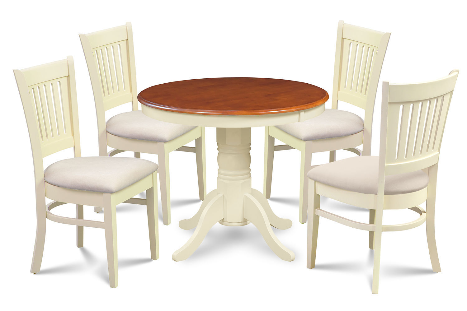 "36"" BROOKLINE DINETTE DINING ROOM TABLE CHAIR SET IN BUTTERMILK & CHERRY"