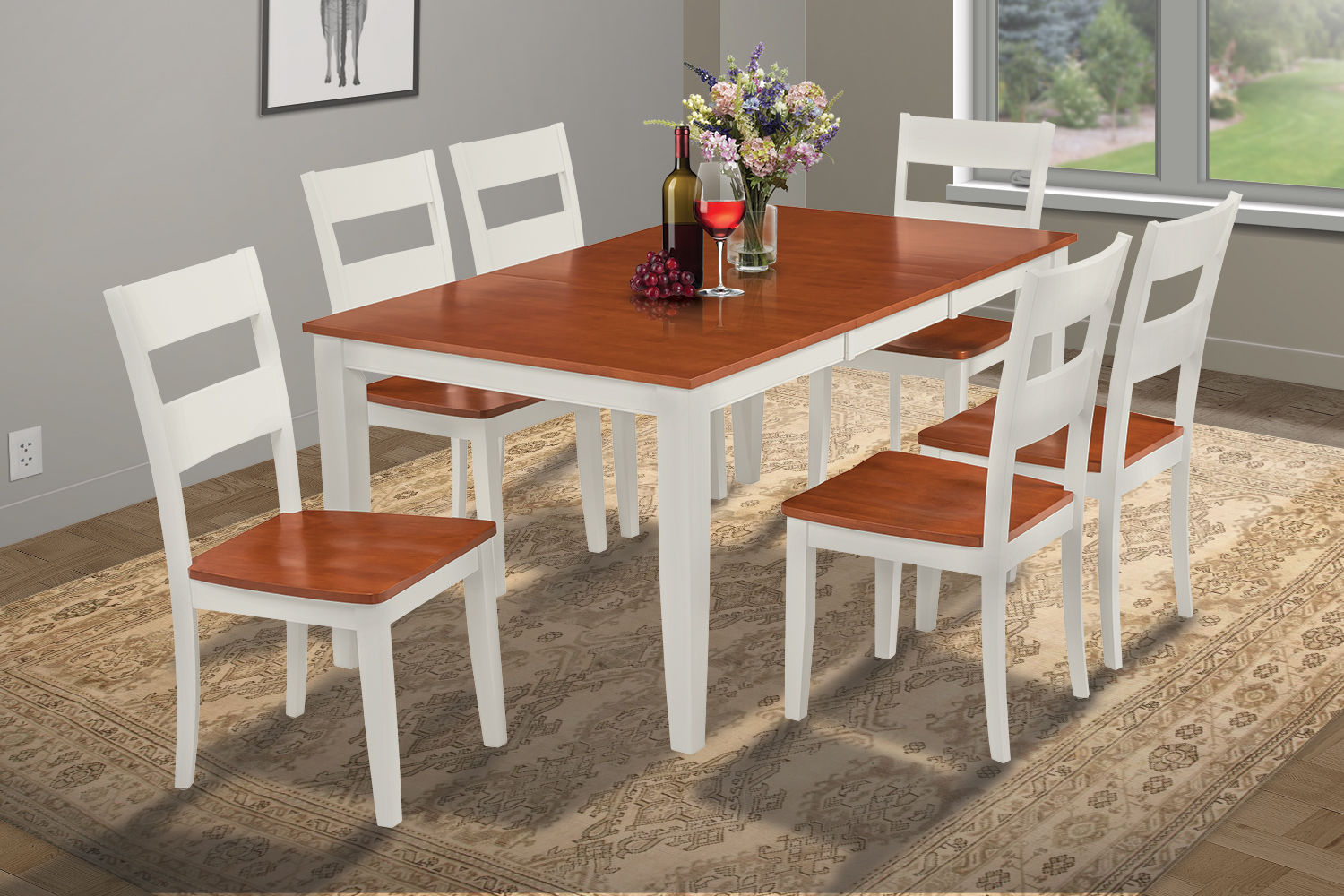 SUNDERLAND DINING ROOM TABLE SET WITH WOOD SEAT CHAIR IN WHITE & CHERRY