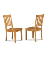 SET OF 2 MOCHA KITCHEN DINING CHAIRS WITH WOODEN SEAT IN OAK FINISH - $128.10
