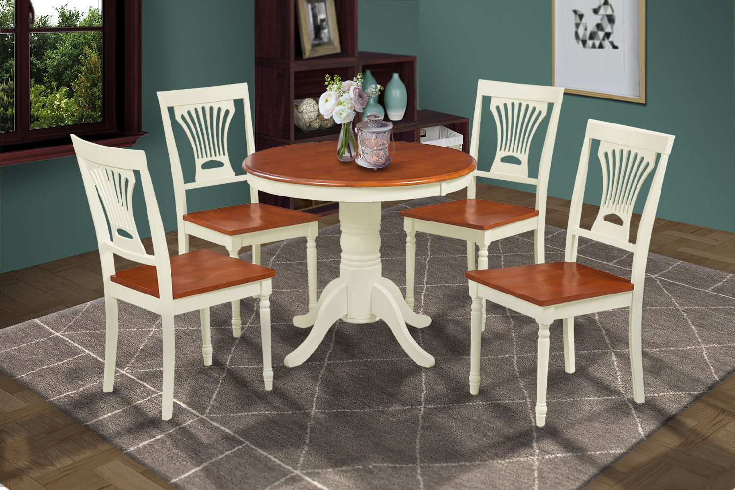 DINETTE DINING TABLE CHAIR SET W/. WOODEN SEAT CHAIRS IN BUTTERMILk & CHERRY