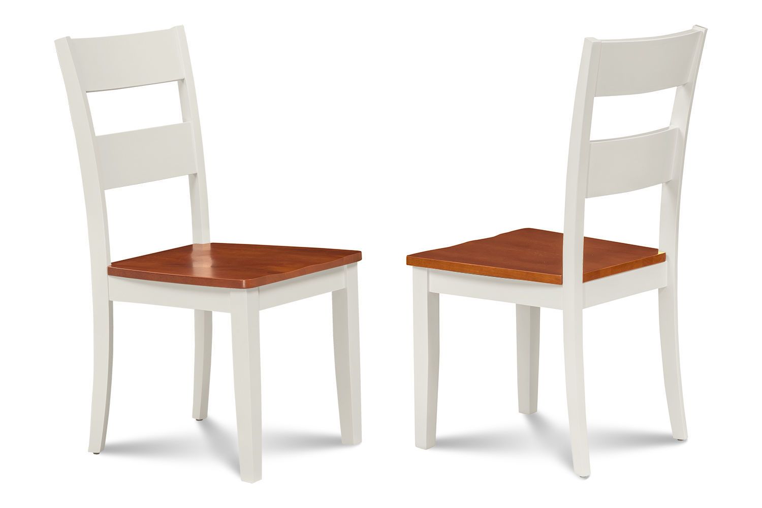 SET OF 4 KITCHEN DINING SIDE CHAIRS w/ WOODEN SEAT IN WHITE CHERRY