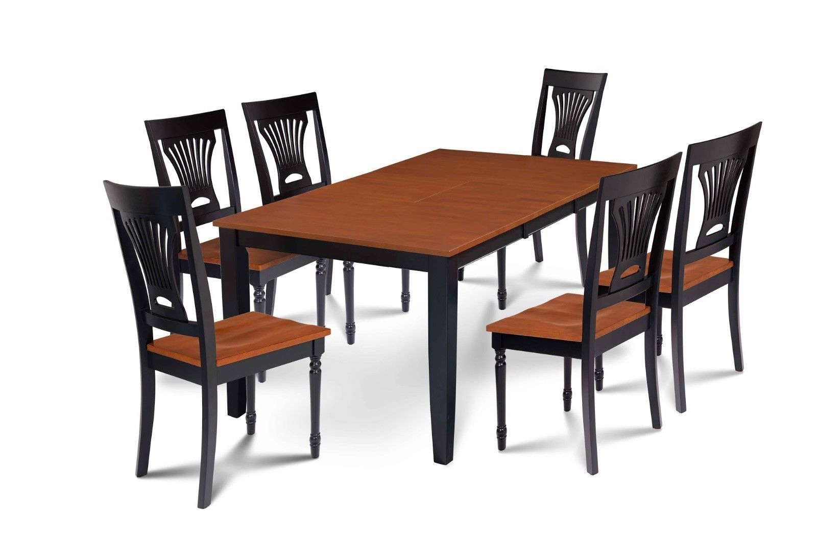 "RECTANGULAR DINING ROOM TABLE CHAIR SET W/. 18"" EXTENSION LEAF, BLACK & CHERRY"