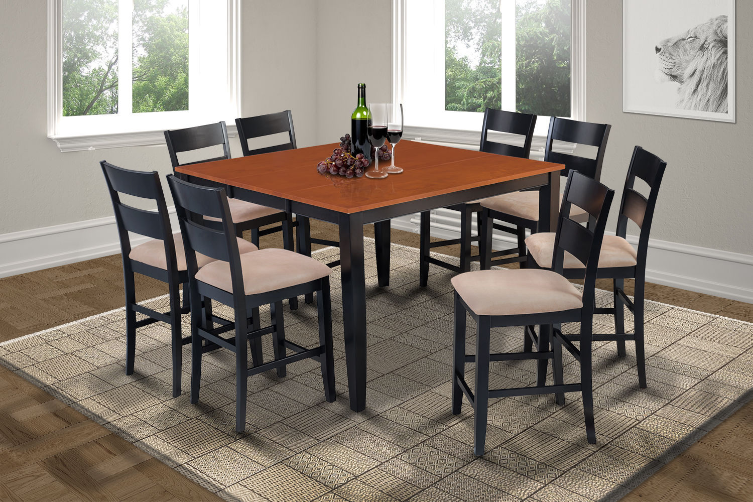 "54"" SQUARE COUNTER HEIGHT TABLE DINING ROOM SET with SOFT-PADDED SEATS"